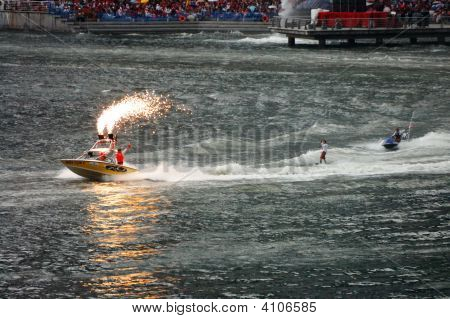 Wakeboarder And Jet-Ski Stunt Performance