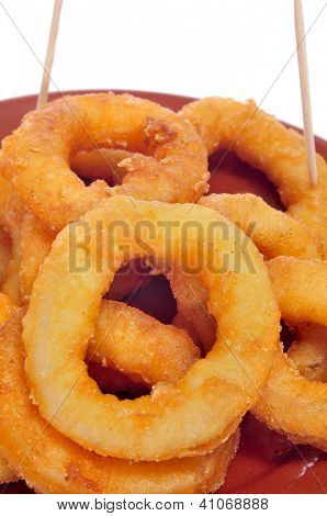 closeup of a plate with spanish calamares a la romana, squid rings breaded and fried