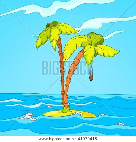 Seascape. Island, Palms and Surf . Vector Cartoon Background. The artwork don't have transparent objects.