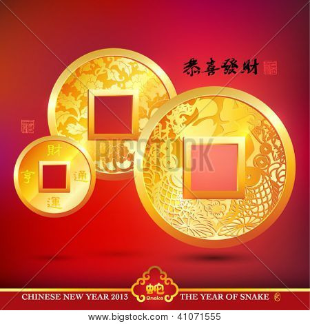 Vector Chinese Copper Coins, Translation: Prosperity