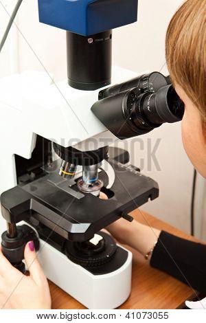 Pesquisa de laboratório utilizando microscópio
