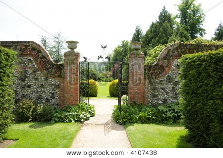 Gate To Garden Of Polesden Lacey Estate, Surrey, Uk