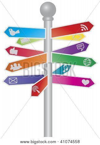 Direction Social Media Signs Illustration