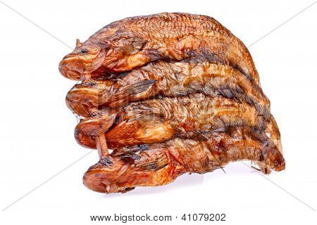 Dry Siluridae Fishs On White Background