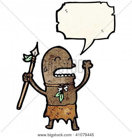 cartoon shouting tribesman