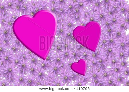 Pink Hearts On A Flower Background