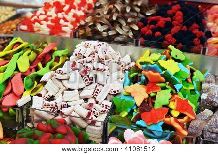 Many Colorful Candies On Market Stand