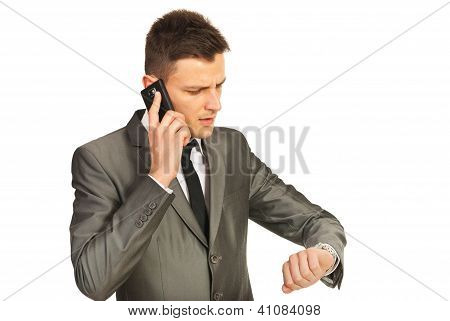 Stressed Business Man By Phone Mobile