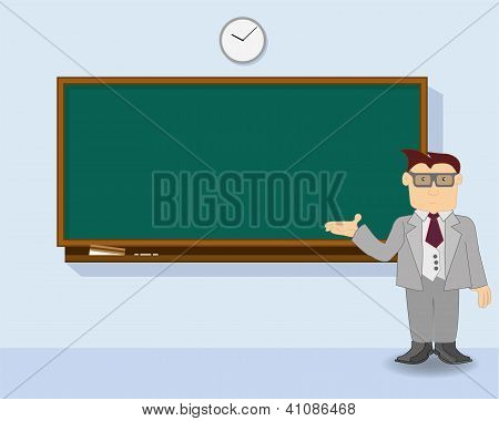 teacher at chalkboard vector