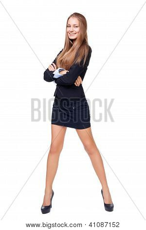 Full Length Portrait Of A Beautiful Business Woman Isolated On White Background