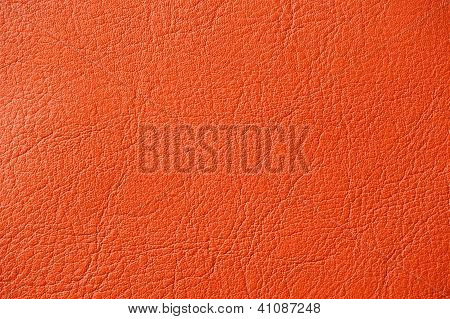 Vermilion Red Artificial Leather Background Texture Close-up
