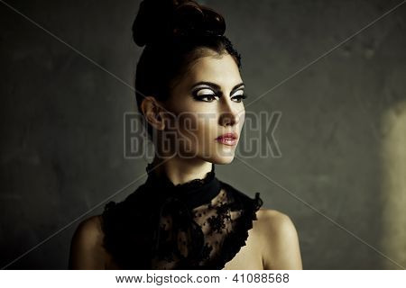 Beautiful Young Brunette Female With Fashion Make-up