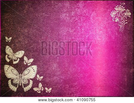 Computer Designed Highly Detailed Purple Grunge Border Frame With Vintage Texture