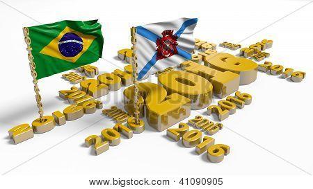 2016 Brazilian And Rio De Janeiro Flags