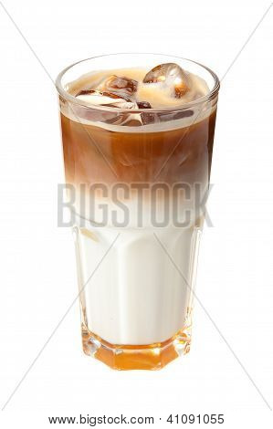 coffee cocktail with milk and ice
