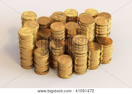 Piles of one US Dollar coins