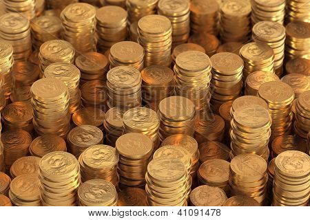 Many piles of one US Dollar coins