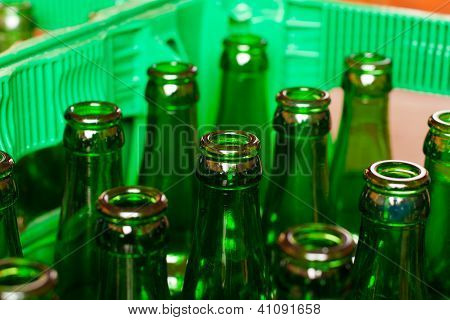 Crate With Empty Beer Bottles
