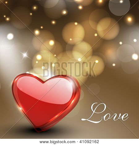 Valentines Day greeting card, gift card or background with glossy red heart on shiny brown background. EPS 10.