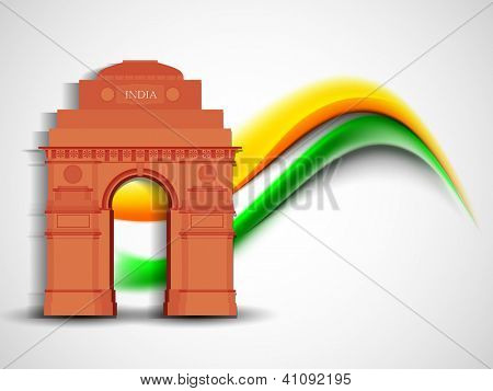 Indian flag color creative wave background with India Gate monument. EPS 10.