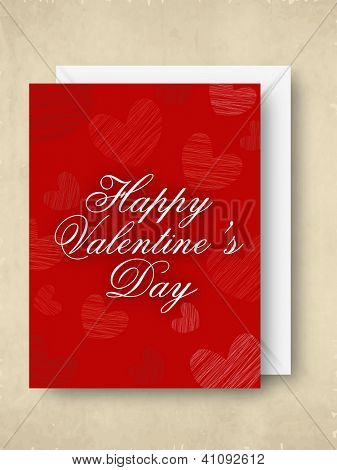 Happy Valentine's Day greeting card in red color with white envelope. EPS 10.
