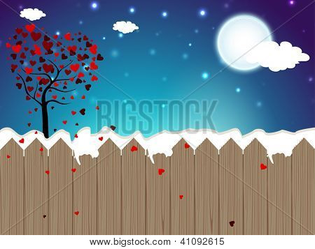 Valentines Day background with Love tree in winter season. EPS 10.