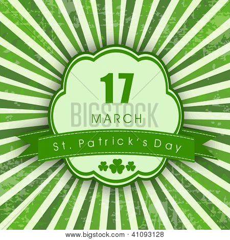 Vintage Saint Patrick's Day greeting card. EPS 10.