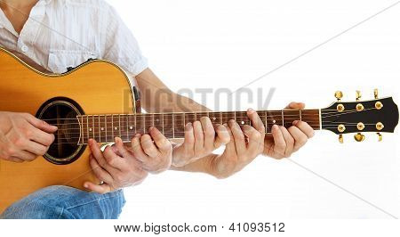 Go Folk - Multiple Hands On Acoustic Guitar