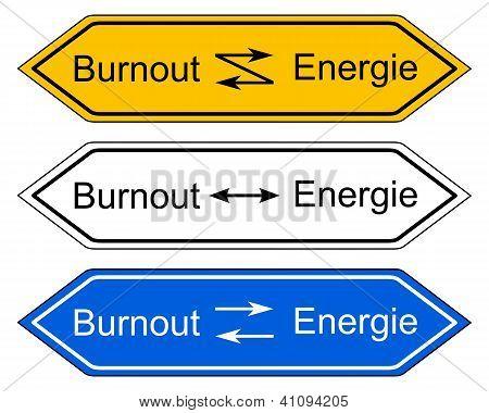 Richtung Zeichen Burnout