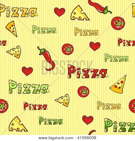 colorful seamless background with pizza slices cheese and tomato