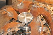 stock photo of dredge  - Billet new rotor dredge in the workshop shipyard - JPG