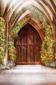 stock photo of church-of-england  - Wooden Church Ancient Door - JPG