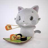 Постер, плакат: Котенок и суши