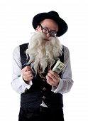 Funny old Jew with banknotes isolated