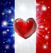 Love France Flag Heart Background