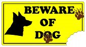stock photo of dog footprint  - Beware of Dog Sign with footprints and dog bite mark - JPG