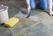 stock photo of grout  - Tile grout repair - JPG