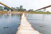 Handmade Bamboo Wooden Sand Bag Bridge In Chitwan Nepal