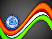 foto of asoka  - Indian flag color creative wave background with 3D Asoka wheel - JPG