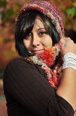 foto of nose ring  - beautiful happy young lady enjoys autumn color - JPG