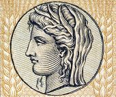 stock photo of ceres  - Demeter the Goddess of Grain and Fertility on on 10 Drachmai 1940 banknote form Greece - JPG