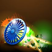 stock photo of asoka  - Indian flag color creative wave background with 3D Asoka wheel - JPG