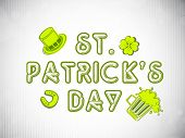 St. Patrick's Day background with leprechaun hat, clover leaf. beer mug and horseshoe. EPS 10.