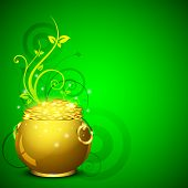 Happy St. Patrick's Day greeting card or background with golden pot and coins on green floral  backg