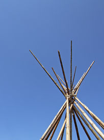 stock photo of tipi  - image of the top of a wood abandoned tipi - JPG