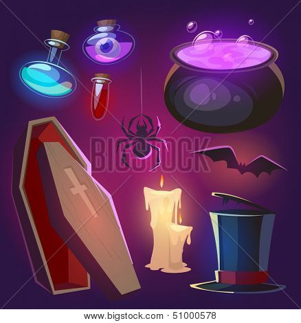 Spooky Halloween objects. Vector illustration.