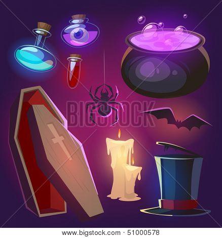 Spooky Halloween objects. Vector illustration.