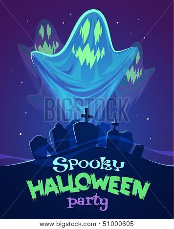 Spooky ghosts on graveyard. Halloween card\poster. Vector illustration.
