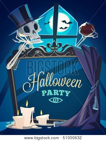 Creepy skeleton. Halloween card\poster. Vector illustration.