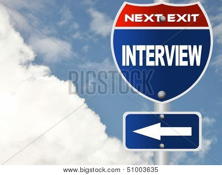 Interview road sign